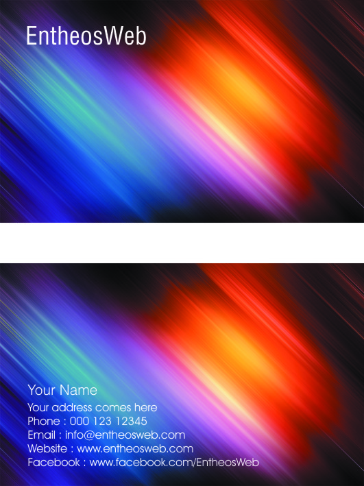 Free Business Card Template Design - Streaks of Light