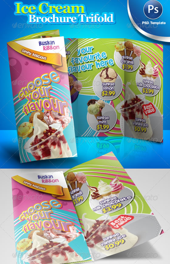 Ice Cream Brochure Trifold PSD Template