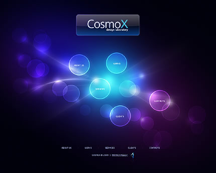 beautiful blue purple circles website design