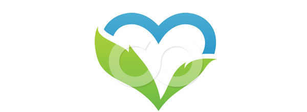Blue Sky And Green Leaf Heart Logo