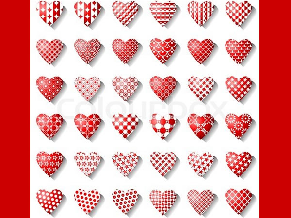 Vector of 'Heart icons for valentine card'