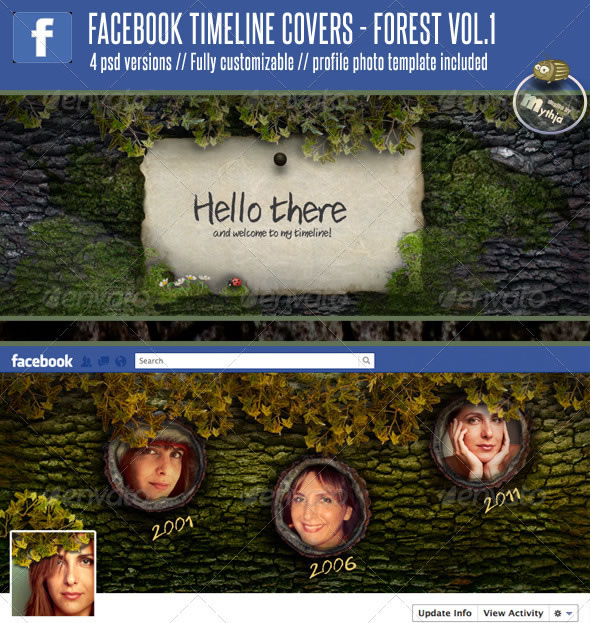 4 Facebook Timeline Covers – Forest vol. 1