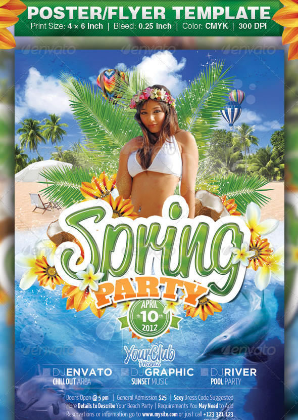cool spring  u0026 summer break party flyers