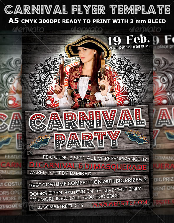 Carnival Club Party Flyer Template V3