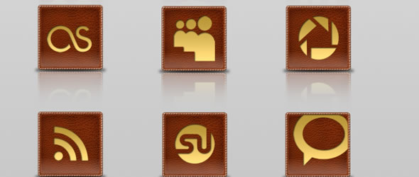 Gold embedded Leather Social Icon Set