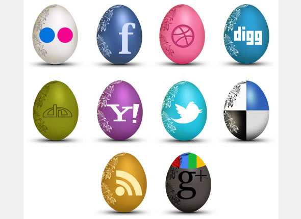 Egg-Shaped Social Icons