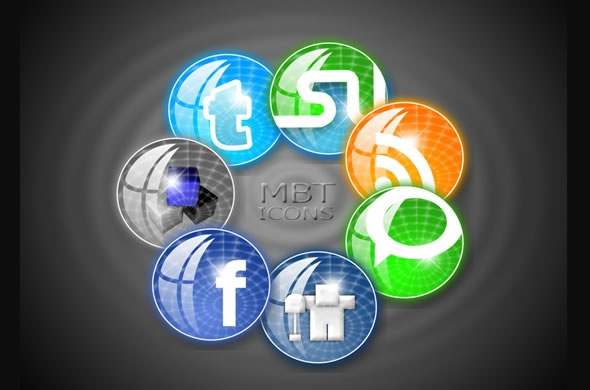 Circular Style MBT Social Bookmarking Icons Set