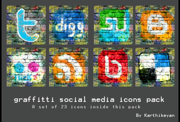 Graffiti Social Media Icons Pack