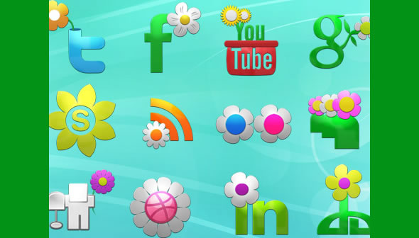 Spring Social Icons Set