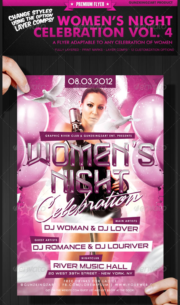 Vibrant Ladies Night Club Party Flyer Templates Entheosweb