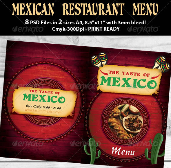 Mexican Restaurant Menu PSD Template