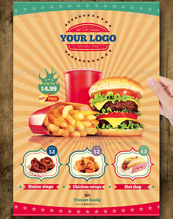 fast food flyer menu restaurant a4 - Restaurant Menu Design Ideas