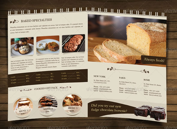 Bakery Menu Brochure