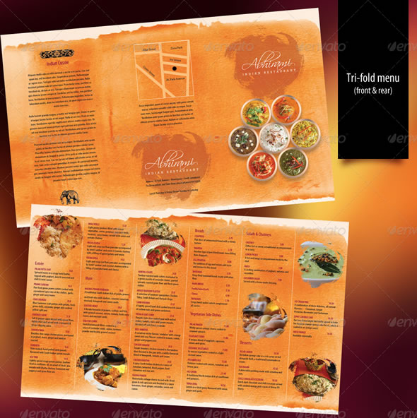 Indian Restaurant Menu set - A4 & Trifold