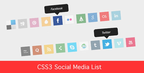 CSS3 - Social Media Icon List