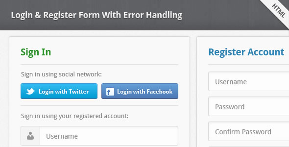Login & Register Form With Error Handling
