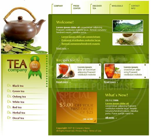 Tea Company Website Template