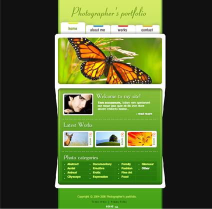 Photographer Photos Flash website template