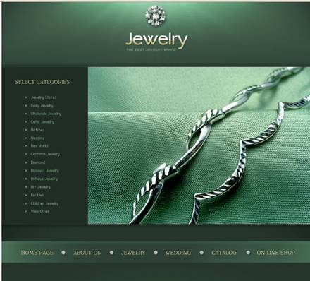 Jewelry Flash Website Design - Green Color Theme
