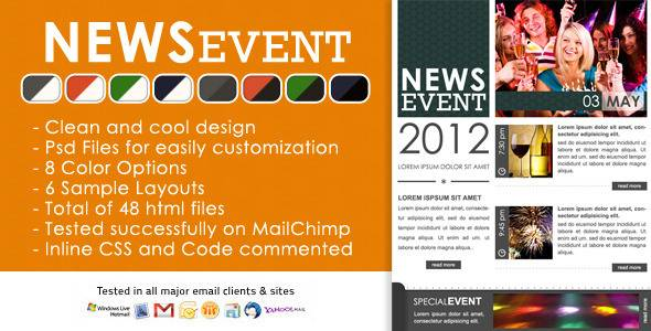 News Event Newsletter - HTML and PSD files