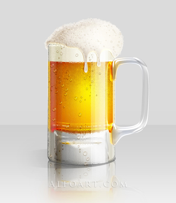 Create realistic glossy Cold Beer Glass