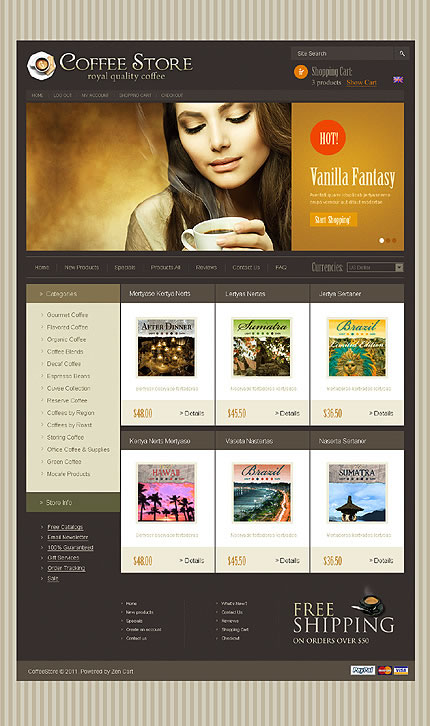 Coffee Store ZenCart Template