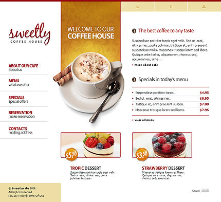 Coffee House Flash Website Template