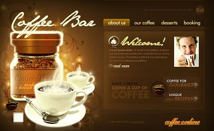 Coffee Bar Flash Website Template