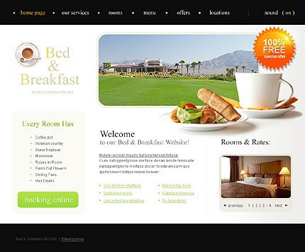 Bed And Breakfast Flash Website Design