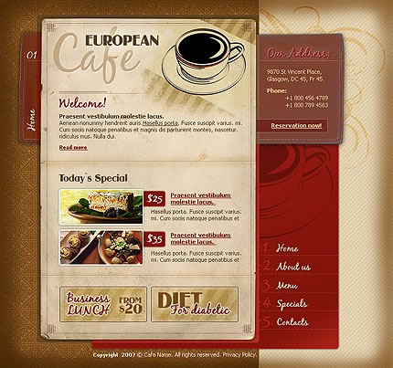 Coffee Cup and Cafe Flash Website Template