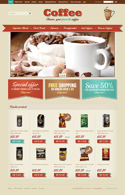 Coffee Store osCommerce Template