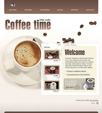 Template 20757 - Coffee Time Website Template