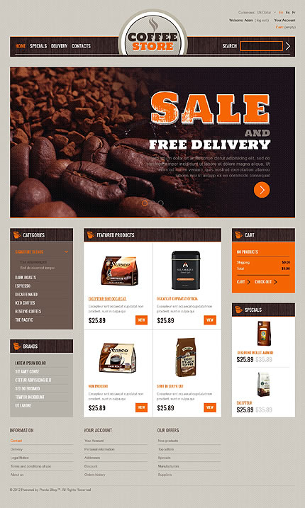 Template 39706 - Coffee Store PrestaShop Theme