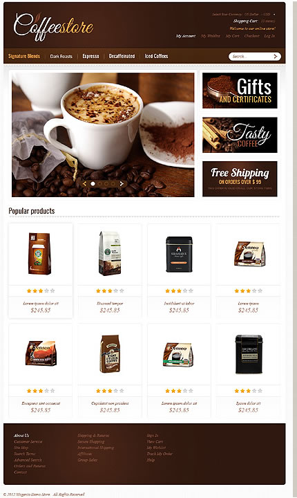 Template 40010 - Coffee Store Magento Theme