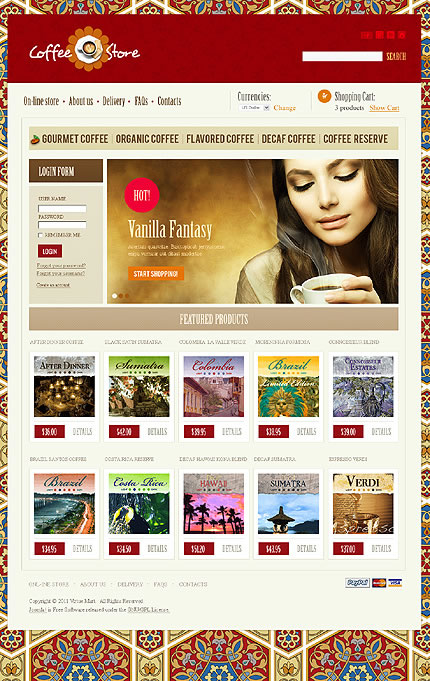 Coffee Store VirtueMart Template