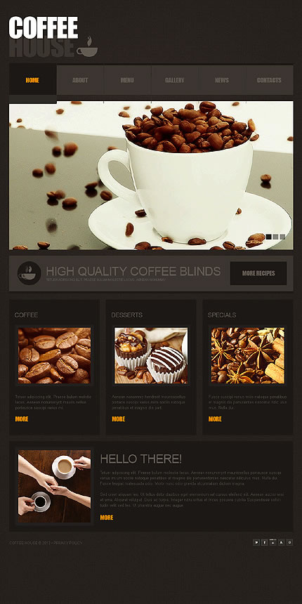 tasteful coffee website template designs for your