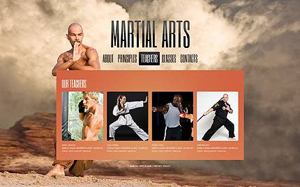 Martial Arts Single Page HTML5 Website Template With Full Screen Background Images Homepage Intro Slider