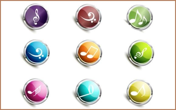 Super glossy music icons