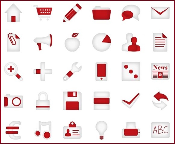 Minimalistica Red Icon Set(90 Icons)