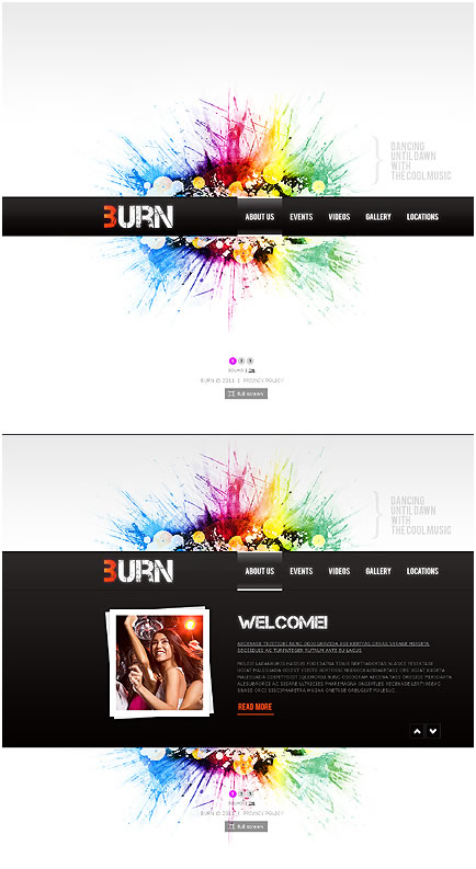 Colorful Paint Spash Effect Flash & XML Website Template