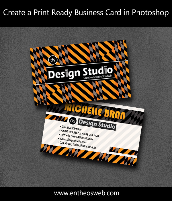 Learn how to create a print ready business card in photoshop entheos learn how to create a print ready business card in photoshop reheart Images