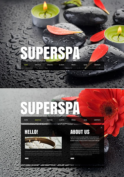 Single Page Spa Salon Website Template Design With Full Page Background Photos