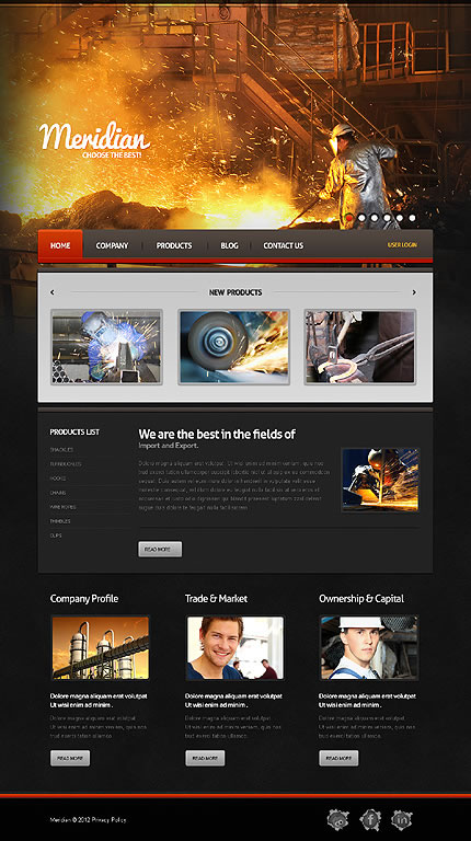 Industrial Joomla Template With Background Image Slideshow