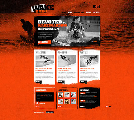 Wakeboarding Website Template - Grunge Design