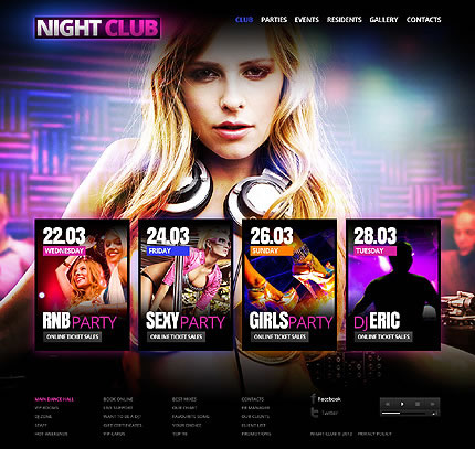 Night Club Single Page Website Template
