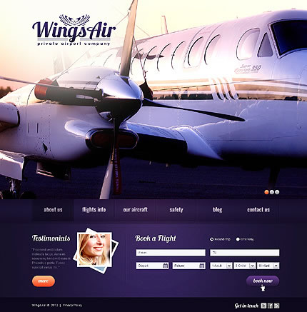 Airport Company WordPress Theme With Homepage Photo Slideshow