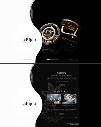 Elegant Single Page Black & White HTML5 Jewelry Website Design