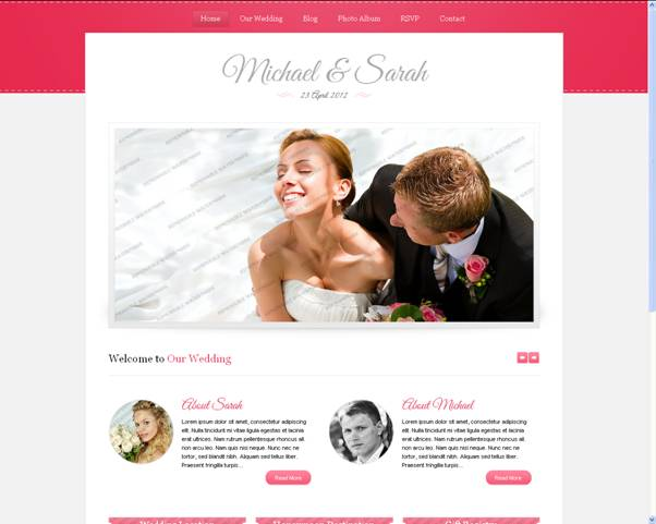 Wedding Photo Website Template