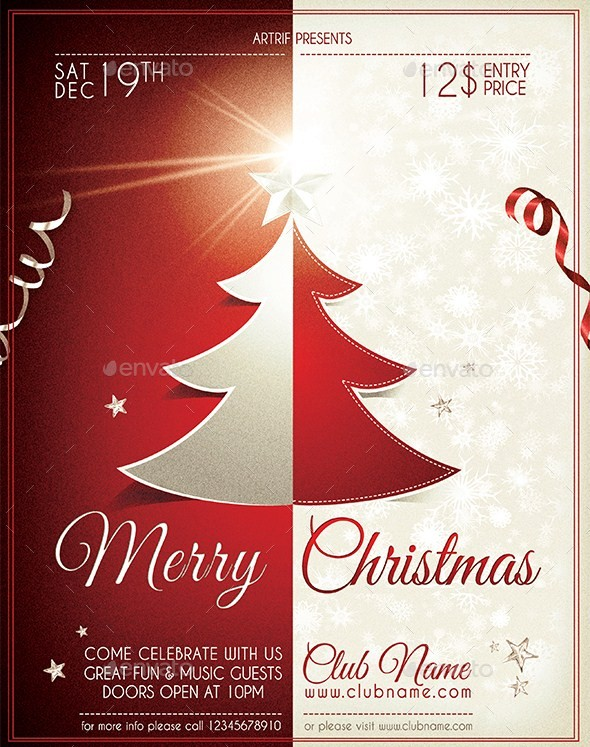 Smart Christmas Tree Red U0026 White Flyer  Flyer Samples Templates