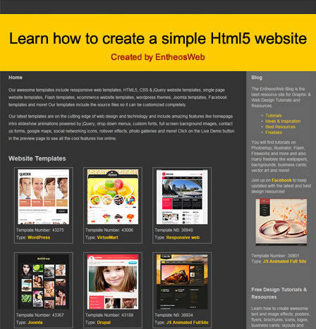 Learn How To Create A Simple Html Website Entheos - Create web page template